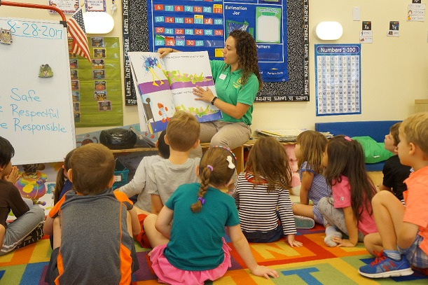 Small group Pre-K class reading